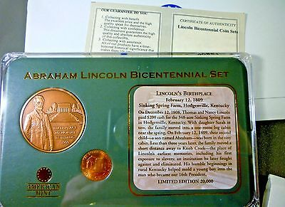 Abraham Lincoln Bicentennial Set - Birth Place Coin & Medal - American Mint