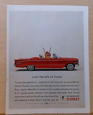 1962 magazine ad for Mercury -  The Lids off Comet! red convertible & sheepdog