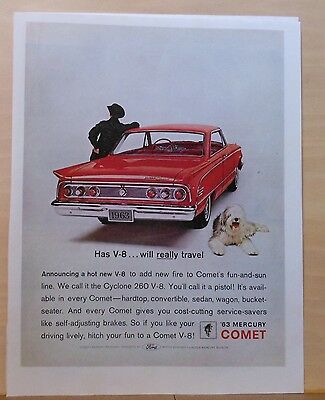 1963 magazine ad for Mercury - red Comet, Has V-8...Will Really Travel