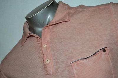 3670-c Mens Tommy Bahama Polo Shirt Distressed Pink Size Medium 100% Cotton
