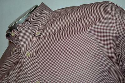 3061-c Mens Brooks Brothers Dress Shirt Red Plaids Size XL 100% Cotton