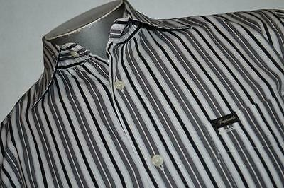 2458-c Mens Faconnable Dress Shirt Size M Medium Gray Striped 100% Cotton
