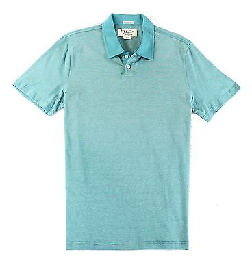 Penguin NEW Blue Mens Size Large L Stripe Texture Polo Rugby Shirt $69 #021