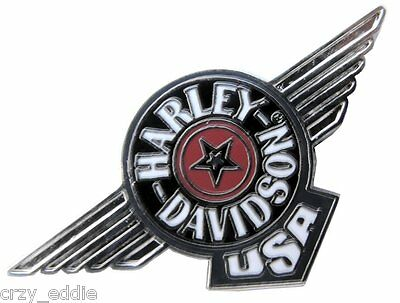 Harley Davidson Fatboy Logo Vest Jacket Pin Motorcycle Star With Wings