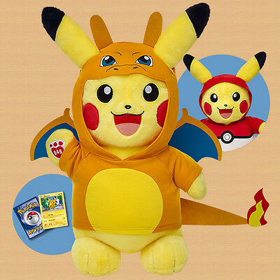 New! Build-A-Bear Pikachu Pokemon Online Exclusive Pokeball / Charizard Hoodies