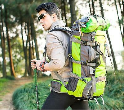 80L Waterproof Sports Tactical Camping Hiking Backpack Luggage Bag 1xRain cover