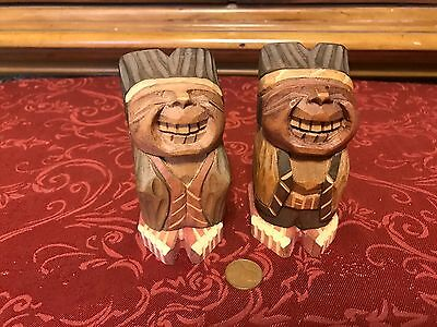 Vintage Carved Wood Smiling Indian Chief & Wife Naughty Pop Up Erotic Figurines