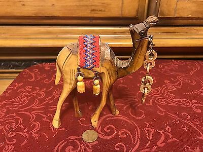Vintage Carved Olive Wood Camel w/ Red & Blue Woven Saddle & Chain 5 3/8""