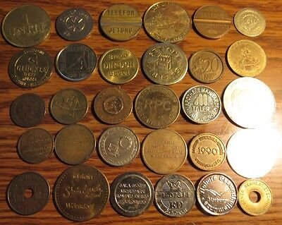 Lot of 30 Foreign Tokens - #2