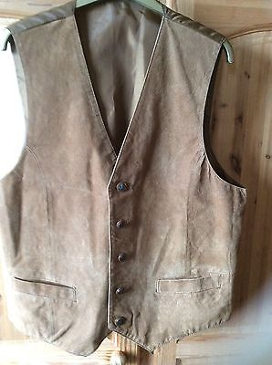 Mens Brown Suede Waistcoat Size Large