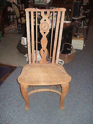 Hand Carved Pine Arm Chair Vintage Antique