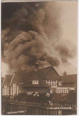 Sutton School Fire, Surrey RP Postcard B746