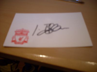 signed card of ex liverpool footballer igor biscan