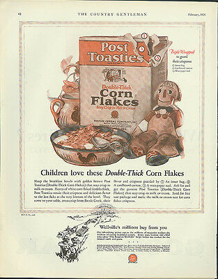 Children love these Post Toasties Double-Thick Corn Flakes ad 1926 Raggedy Ann?
