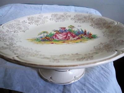 CRINOLINE LADY Large CAKE PLATE on TAPERED CENTRE LEG Morley Ware