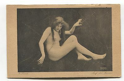 Young nude woman in spider's web - old Germany risque glamour postcard