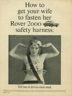 How to get your wife to fasten her Rover 2000 safety harness ad 1967