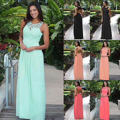 UK Womens Long Chiffon Sleeveless Evening Formal Party Prom Gown Lace Maxi Dress