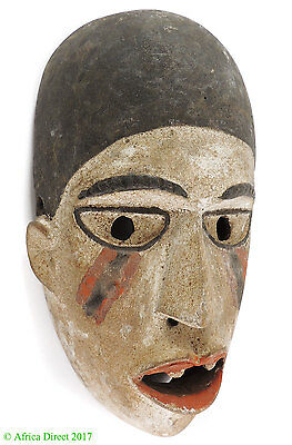 Bakongo Mask Villi Painted White Congo African Art