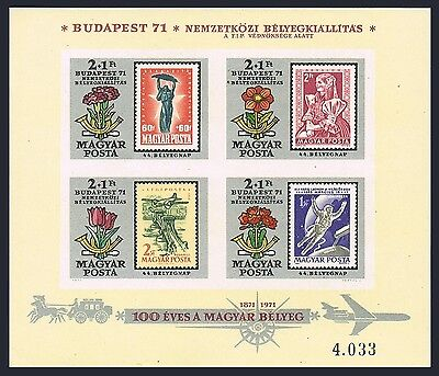 Hungary B293 imperf,MNH.Mi 2688-2691 Bl.83B. Budapest-1971,Space,Costume,Flower.