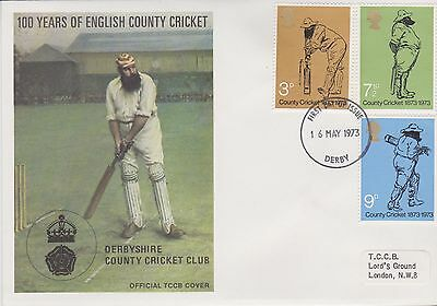 Gb Stamps First Day Cover 1973 Official Tccb Cricket Cover Derby Rares