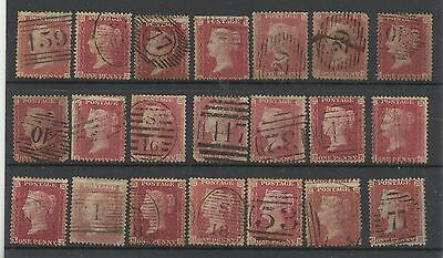 A Small Selection of 1850/7, 1d Red Stars X 21, Mixed condition.