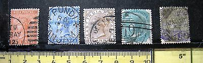 Selection Of 5 Unsorted Queen Victoria Stamps Of India.