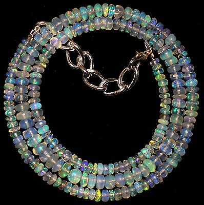 53 Crt 1 Strand 3 mm to 5 mm 18.1 Natural Ethiopian Opal Gemstone Beads 0019