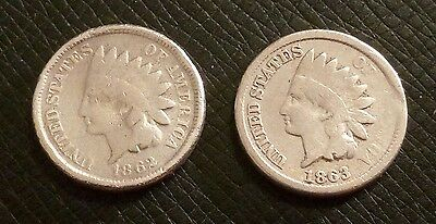 Lot of (2) Indian Head Penny's 1-1862, and 1-1863 in Great Condition