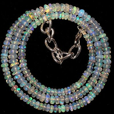 52 Crt 1 Strand 3.5 mm to 5 mm 17 Natural Ethiopian Opal Gemstone Beads 0021