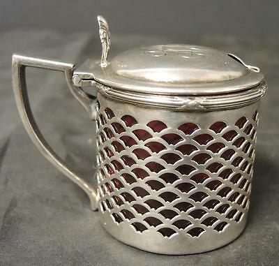 Antique Sterling Round Mustard Pot Cranberry Ruby Liner