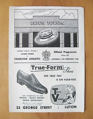 LUTON TOWN v CHARLTON ATHLETIC 1955/1956 Excellent Condition Football Programme