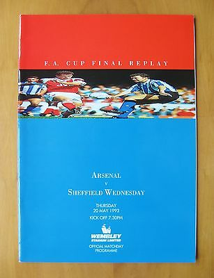 1993 FA Cup Final Replay ARSENAL v SHEFFIELD WEDNESDAY *Exc Condition Programme*