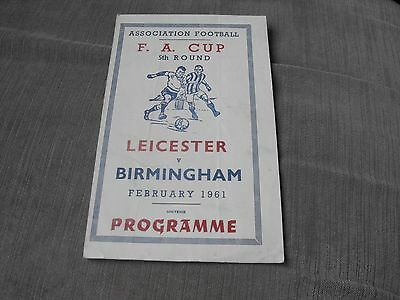 LEICESTER CITY v BIRMINGHAM CITY 22/2/61 FA CUP 5TH RD - REPLAY (SOVENIR)