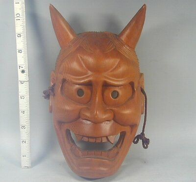 Hannya Mask #582 Vtg Wooden Evil Horned Devil Demon Woman Noh Kabuki Japanese