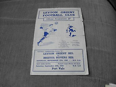 LEYTON ORIENT RES. v BRISTOL ROVERS RES. 17/9/49, FOOTBALL COMBINATION SECTION A