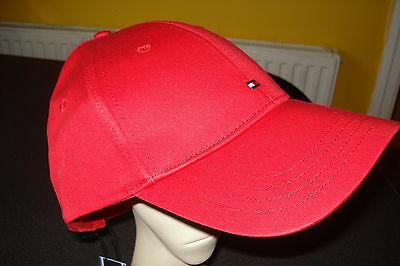 TOMMY HILFIGER Classic Peaked Baseball Cap in Red -  Adjustable