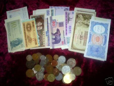 20 different world -10 coins and 10 currency nice circ.-Uncirculated