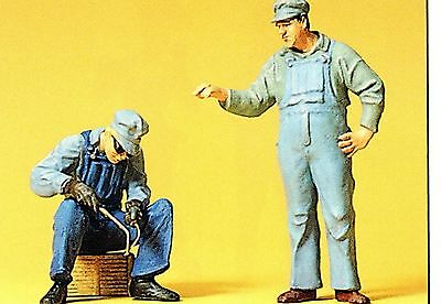 Railway construction workers USA with yellow HELMET Preiser 63077 1 gauge