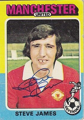• Hand Signed Topps Trade Card 1975/76 Man United - Steve James