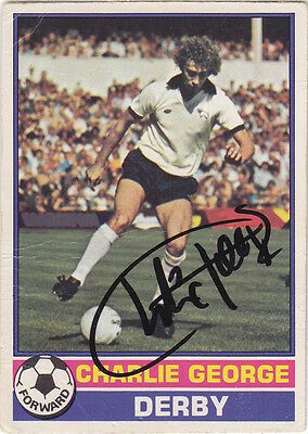 • Hand Signed Topps Trade Card 1977/78 Derby - Charlie George