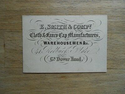 Antique business card 19thC Cloth & Fancy Cap Maker - Victorian