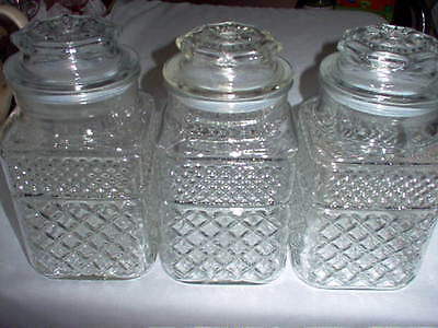 WEXFORD Glass Diamond Cut Design Pattern TALL Apothecary Canister Jars Set of 3