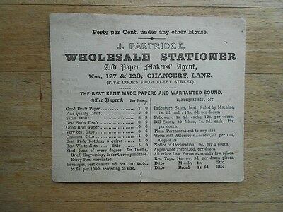 Antique business card 19thC Stationer Paper with prices double-sided London