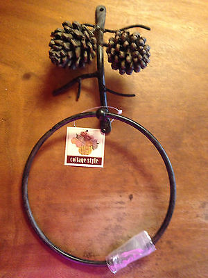 New Rustic Country Cabin Bath Twig Branch Pine Cone TOWEL RING