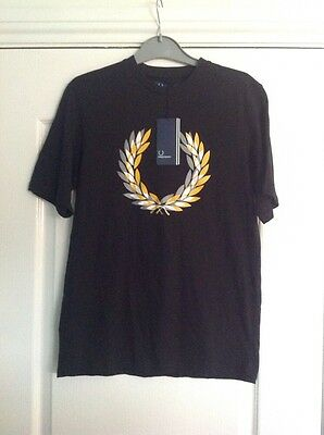 Bnwt Mens Black Fred Perry Laurel Short Sleeved T-Shirt Size Small Rrp £25