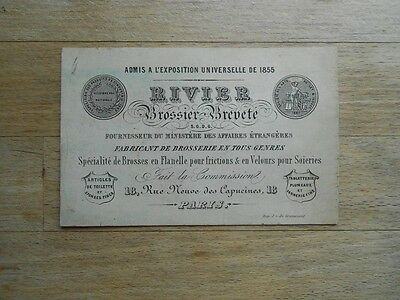 Antique business card 19thC French Patent Brush Manufacturer - Victorian