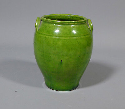 Antique Victorian Sussex Rye Pottery Green Urn Pot Vase Af #10