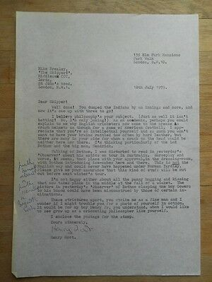 Henry Root original carbon copy signed letter Mike Brearley cricket 1979 funny