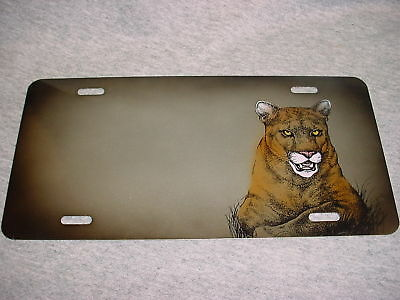 COUGAR BIG CAT Airbrushed CAR TAG Auto Truck LICENSE PLATE Wildlife Animal NEW